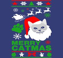 Merry Catmas Santa Ugly Christmas Womens Fitted T-Shirt