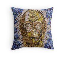 The Trusty Golden Robot - Bottle Cap Mosaic Throw Pillow