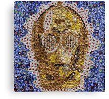 The Trusty Golden Robot - Bottle Cap Mosaic Canvas Print