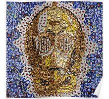 The Trusty Golden Robot - Bottle Cap Mosaic Poster