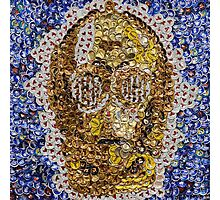 The Trusty Golden Robot - Bottle Cap Mosaic Photographic Print