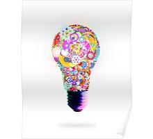light bulb made by gear wheel Poster