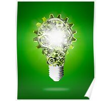 light bulb design by cogs and gears Poster