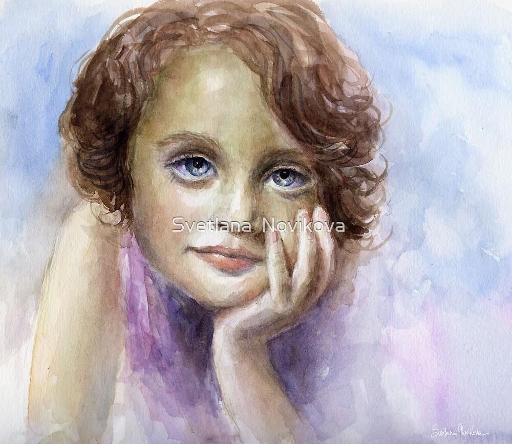 Watercolor Young girl child painting SvetlanaNovikova by Svetlana  Novikova