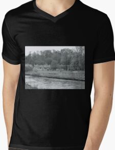 Early Spring in England Black and White Mens V-Neck T-Shirt