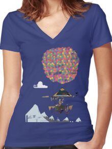 Riding A Bicycle Through The Mountains Women's Fitted V-Neck T-Shirt