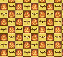 Pumpkin Bat Checkered Pattern by SaradaBoru