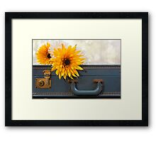 Bouquet of mums sitting on a vintage suitcase Framed Print