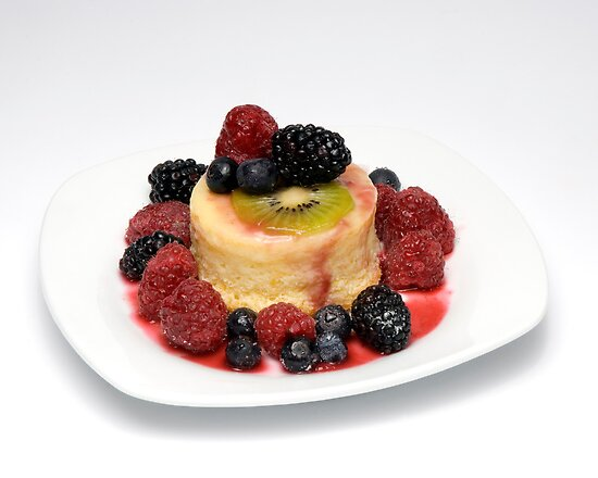 Orange Pudding cake w/ Seasonal Berries by wolftinz