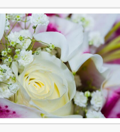 Close up of a bouquet of roses, lilies and other flowers Sticker