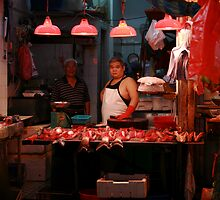 Men in fish market by liptonmania