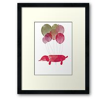 Sausage Dog Around the World - Red/Green Framed Print