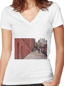 San Francisco Street Scene Women's Fitted V-Neck T-Shirt