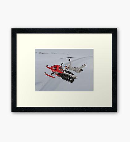 Snowmobile Tricks Framed Print