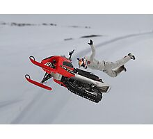 Snowmobile Tricks Photographic Print