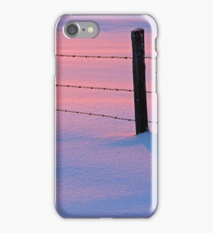 Winter Snow Sunset Pink Blue Fence iPhone Case/Skin