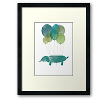 Dog Sausage Around the World - Green/Blue Framed Print