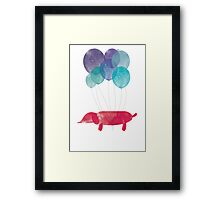 Dog Sausage Around the World - Blue/Red Framed Print