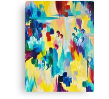 DONT QUOTE ME Whimsical Rainbow Ikat Chevron Abstract Acrylic Painting Magenta Plum Turquoise Gift Canvas Print