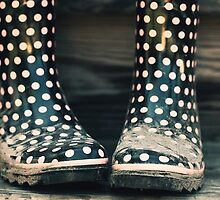 Polka Dot Rain Boots by April Koehler