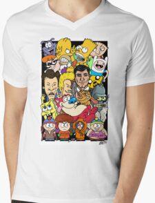 Cartoons Color Mens V-Neck T-Shirt