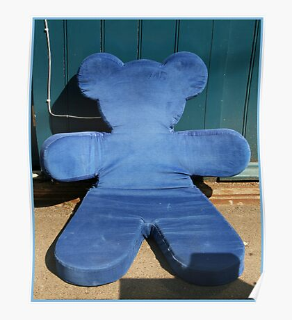 Blue teddy bear Poster