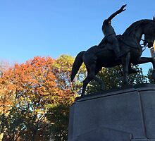 George Washington Statue, Late Autumn Colors, Union Square, New York City by lenspiro