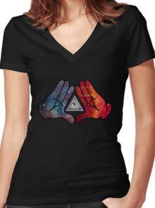 Space Illuminati Hands Diamond Women's Fitted V-Neck T-Shirt