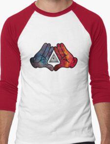 Space Illuminati Hands Diamond Men's Baseball ¾ T-Shirt