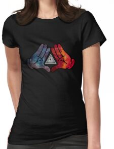 Space Illuminati Hands Diamond Womens Fitted T-Shirt