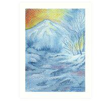 Snowy Mountain Stream Sunrise Art Print