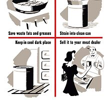 Save Waste Fats - WWII Propaganda by warishellstore
