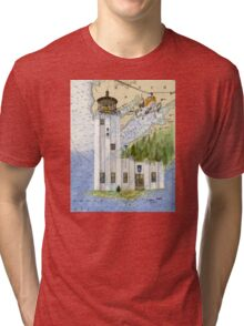 Cape Hinchinbrook AK Lighthouse USCG Helicopter Tri-blend T-Shirt
