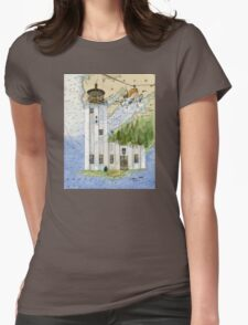 Cape Hinchinbrook AK Lighthouse USCG Helicopter Womens Fitted T-Shirt