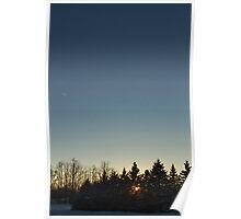 Cloudless winter Sunset Poster