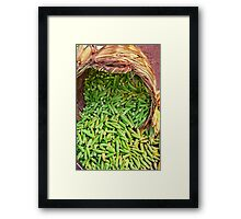 Okra Spilling From A Basket Framed Print