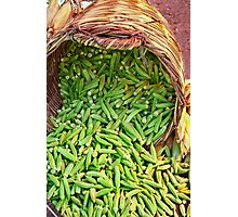 Okra Spilling From A Basket Photographic Print