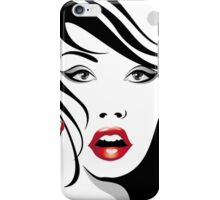 A Fashion/Vogue Girl with Red lip iPhone Case/Skin