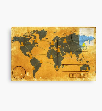 world map on old postcard Canvas Print