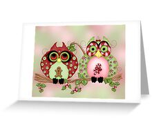 Mr and Mrs Christmas Sweets Owls Greeting Card