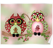 Mr and Mrs Christmas Sweets Owls Poster