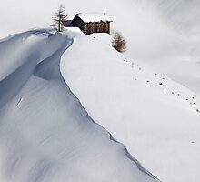 Mountain hut in snow by Matteo Colombo