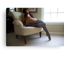 Looking Out the Window, Black Stockings  Metal Print