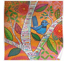 Blue Wren in a Tree Poster