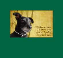 Dogfucius say: Mailman who get bit by dog... Womens Fitted T-Shirt