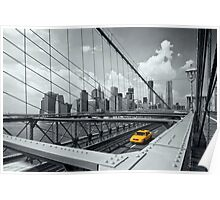 Yellow Cab & Brooklyn Bridge Poster