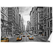 5th Avenue Yellow Cabs - NYC Poster