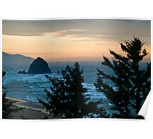 Haystack Rock at Dawn Poster