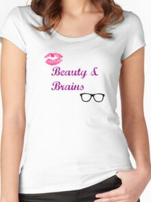 Beauty & Brains Women's Fitted Scoop T-Shirt