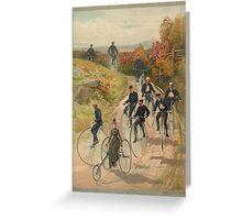 Antique Bicycling Print Greeting Card